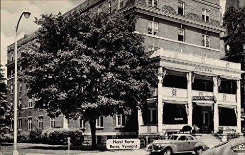 Hotel Barre, front porch and old cars Barre, Vermont Original Vintage Postcard