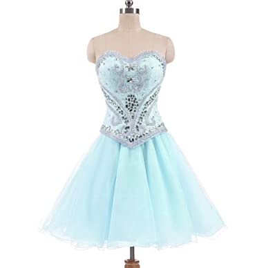 Dydsz Womens Sweetheart Crystals Party Prom Dresses Short Dress Plus Size D186 Blue 2
