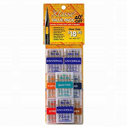 Klasse Sewing Machine Needle Value Variety Pack with 40 Needles Including Universal, Quilting, Jeans/Denim, Leather, Stretch and Top Stich