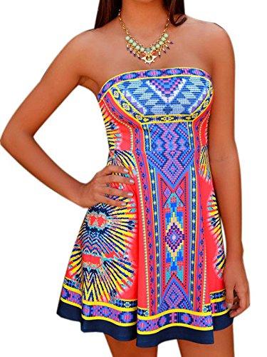 Choies Women's Strapless Mixed Folk Print Bohemian Beach A-line Dress M - Strapless Summer Dress