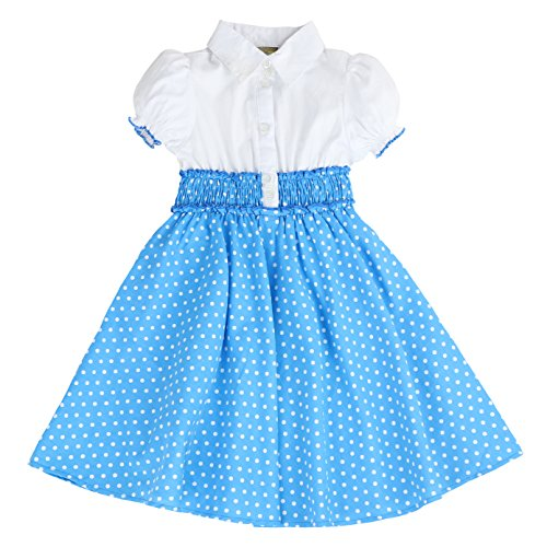 MARIA ELENA - Toddlers and Girls Anna Belle Polka Dot Light Cotton Dress in Blue 7/8