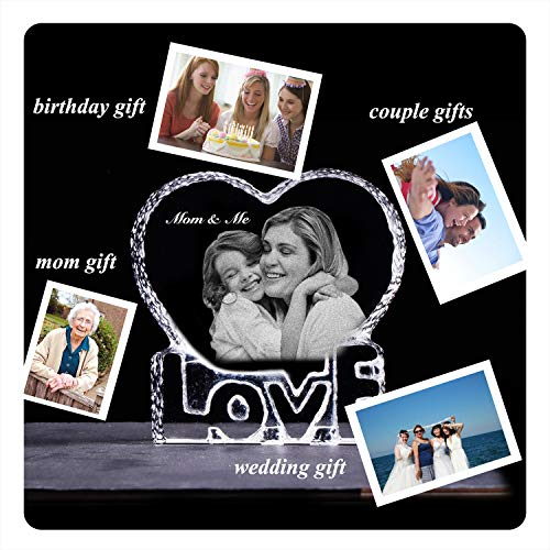 YWHL Customized Photo Etched Crystal Paperweight Birthday Gifts for Mom Wife