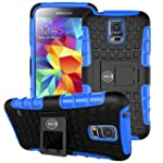 Cable and Case Eternity Series Dual Layer Hybrid Rubber Armor Case for Galaxy S5 Blue