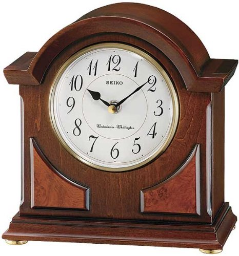 Seiko Mantel Chime Clock Brown Wooden Case Wood Mantle Clock