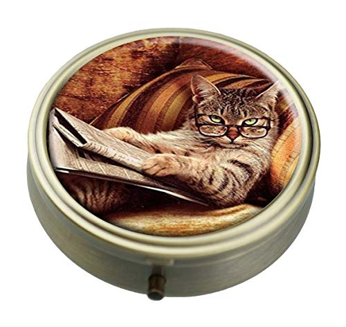 Ted GIen CAT Read Newspaper Custom Personalized Bronze Round Pill Box Wallet Travel Kit Vitamin Decorative Box Protection Box