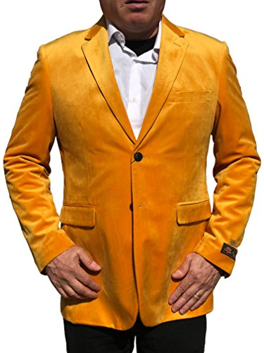 Trim Velour Hoodie Jacket (Alberto Nardoni Gold Mustard Yellow Velvet Velour Blazer Sport Coat Jacket Available Big Sizes)