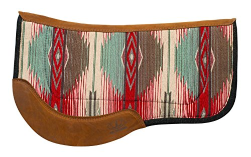 Weaver Leather Herculon Trail Saddle Pad with Wool Felt Bottom, Red/Turquoise - Leather Trail Saddle