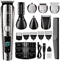 Brightup Beard Trimmer, Cordless Hair Clippers Hair Trimmer for Men, Waterproof Body Mustache Nose Ear Facial Cutting...