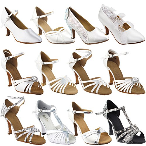 (50 Shades White Ballroom Latin Dance Shoes for Women: 2829LEDSS White & Silver, 3' Stiletto Heel, Size 9)