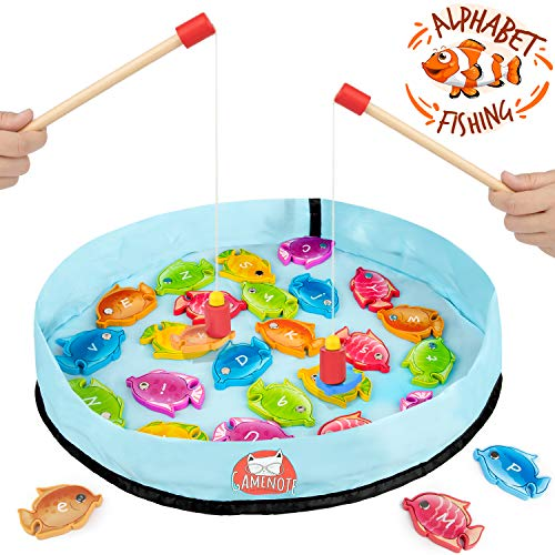 Gamenote Wooden Magnetic Alphabet Fishing Game for Toddlers - 26 Double Sided Fish with 2 Magnet Poles & Storage Bag for Letter Recognition and Learning (Activity Guide Include) (Game Sight Words Fishing)