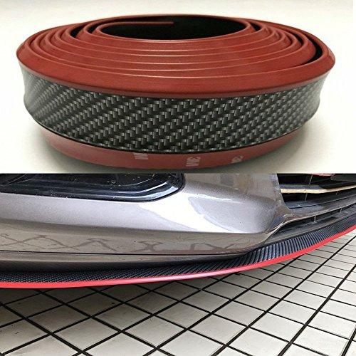 AUNAZZ/Car Bumper Strip 2.5M Carbon Fiber Style Bumper Protector Splitter Bumper Lip Anti-Collision Strip Red Line: