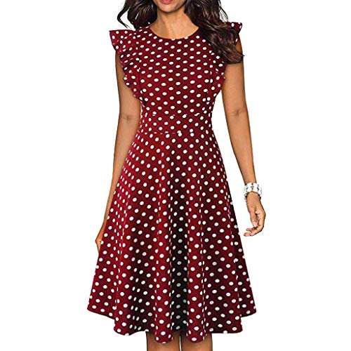 Toponly Cocktail Midi Dress Women Vintage Dot Printed Ruffles Sleeveless Casual Dress Party Long Blouse Dresses Summer Casual