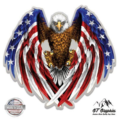 "American Eagle Patriotic American Flag - 3"" Vinyl Sticker - For Car Laptop I-Pad Phone Helmet Hard Hat - Waterproof Decal"