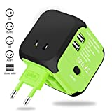 Universal Travel Adapter, VOGTEL Worldwide All in One Power Adapter AC Power Plug Converters Wall Charger with Dual USB Charging Ports for Italy Europe UK AUS USA (Green)