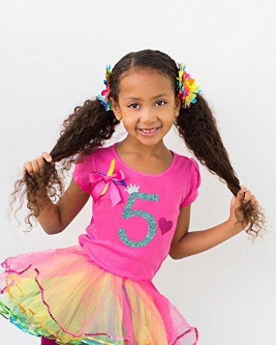Bubblegum Divas Little Girls' 5th Birthday Rainbow Tutu Outfit 5-6