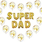 16'' Super DAD Balloons with 10 Pack 12'' Gold Confetti Balloons for Birthday Father's Day Party Events