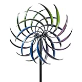 Bits and Pieces - Rainbow Wind Spinner - Decorative Lawn Ornament Wind Mill - Tri-Colored Kinetic Garden Spinner