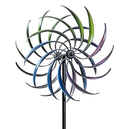 Bits and Pieces The Original Rainbow Wind Spinner - Decorative Lawn Ornament Wind Mill - Tri-Colored Kinetic Garden Spinner - Metal Whirligigs