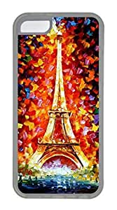 iPhone 5C Case, Customized Protective Soft TPU Clear Case for iphone 5C - Eiffel Painting Cover by icecream design
