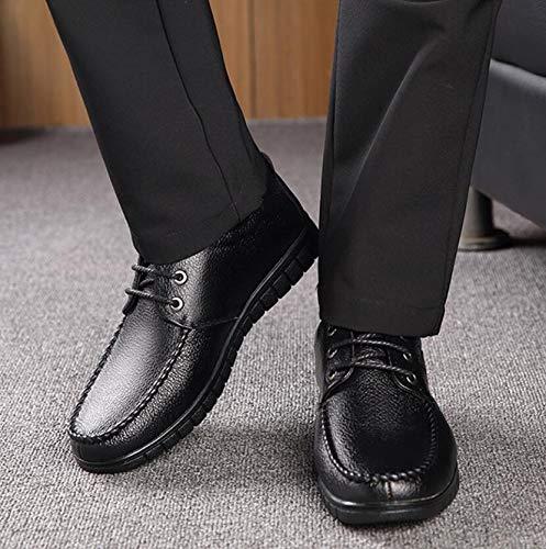 Hombres Zapatos de Calientes Resistentes para Edad de Desgaste de otoño Primavera Suave Zapatos y Antideslizantes de cómodos Koyi Zapatos al Mediana Cuero Fondo de Black Suave papá Tn7OYwq