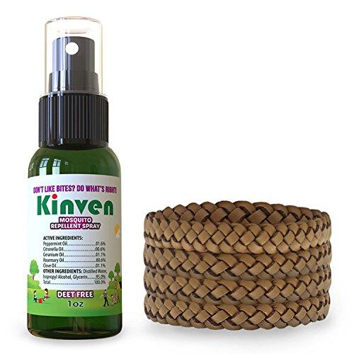 Kinven Anti Mosquito Repellent Bundle - Mosquito Repellent Bracelets & Spray, Waterproof, Natural, DEET-Free, Indoor & Outdoor Protection for Adults & Kids (1oz Spray Bottle + 4 Bracelets, Brown)