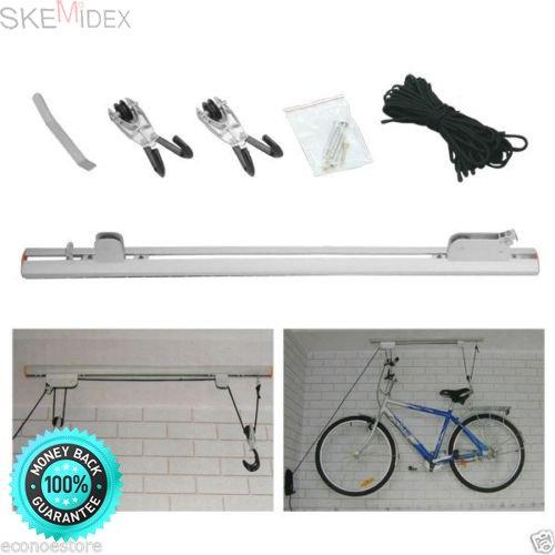 SKEMiDEX---Bike Lift Rack w/ Ceiling Rail Mounting Bike Rack (Bike & Ladder Lift) Hanger. Aluminum rail. Load capacity:20kgs (44lbs), Max load: 34kgs (75lbs) Rope:14.6 meter PP rope
