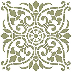 J BOUTIQUE STENCILS Damask Wall Stencil - Large Size - Reusable Stencil for Home DIY decor FAUX MURAL V0011