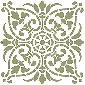 "Large Wall Damask Stencil Faux Mural Design #1007 13""X14 4/8"