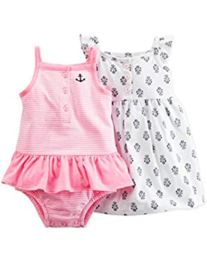 Pink Nautical 2 Piece Dress Romper Set 18 Months
