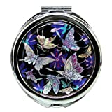 Mother of Pearl Blue Butterfly Design Double Compact Cosmetic Makeup Handbag Pocket Purse Mirror