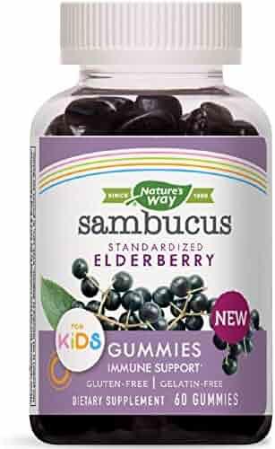 Nature's Way Sambucus Elderberry Kid's Gummies Herbal Supplements, 60 Count | Black Elderberry |Vitamin C | Zinc |