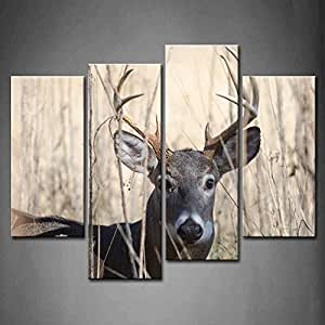 First Wall Art 4 Panel Wall Art Whitetail Deer Buck Moving Through Bush Painting
