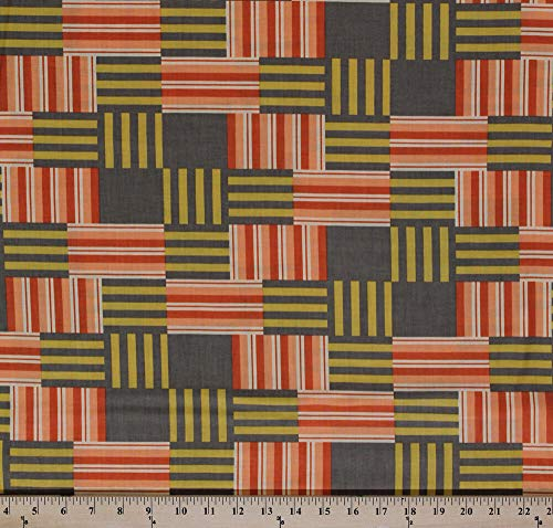 Cotton Contempo Striped Blocks Geometric Patchwork Fabric Print by Yd D506.36
