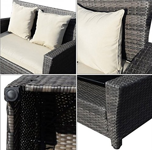 SKB Family 4 pcs Wicker Rattan Patio Sofa Cushioned Set Made of rattan wicker and steel cushioned