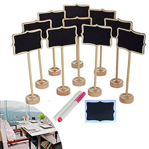 NUOLUX 10PCS Mini Chalkboard with Stand,2 Liquid Chalks,10 Pieces Replace Film for Message Board Signs by NUOLUX (Image #5)