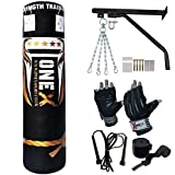 NEW 3-4-5 FT Filled Heavy Punch Bag Buyer Build Set,Chains,Bracket, Punching Gloves for Training Fitness Water proof Bag MMA (5ft with Bracket+Cutts Finger)