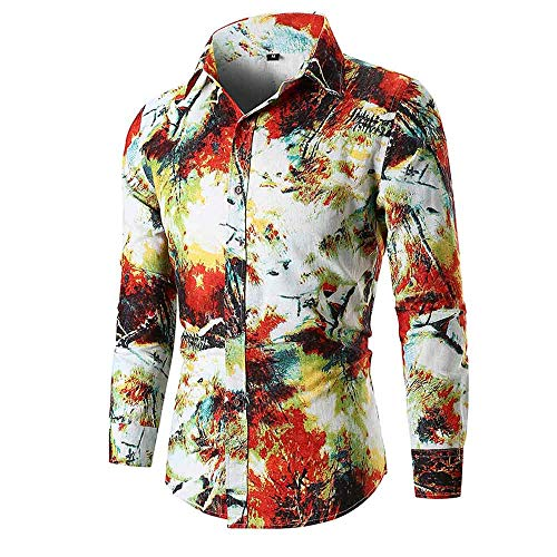 LandFox Slim Long Sleeve Printed Shirt Top,Personality Men's Autumn Casual Blouse Red