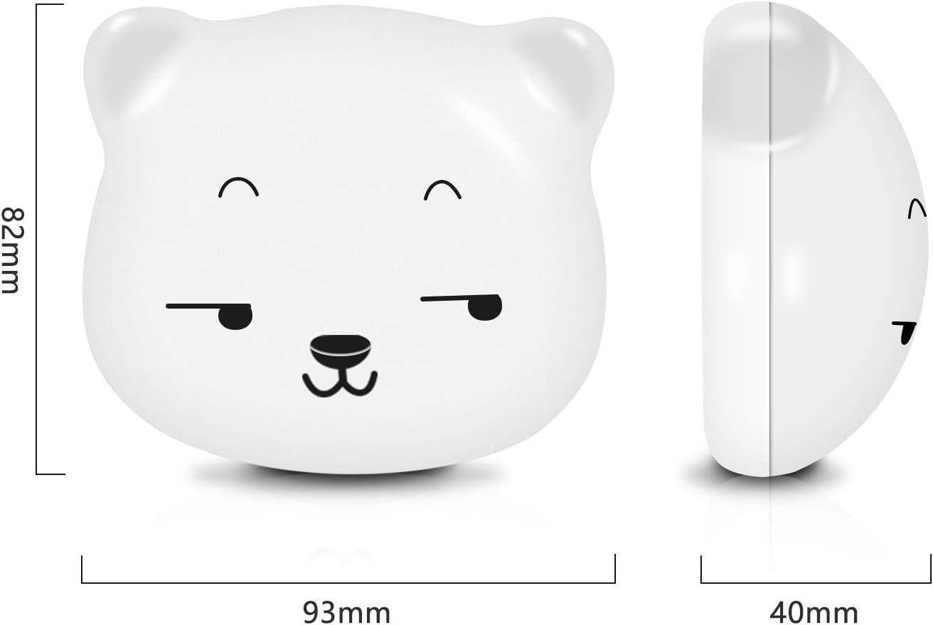 SYOSIN Bedside Lamp Cute Bear Night Lights with Yellow /& White Light /& Touch Sensor Switch LED Night Light for Kids USB Rechargeable Magnetic adsorption Eye Friendly Light White