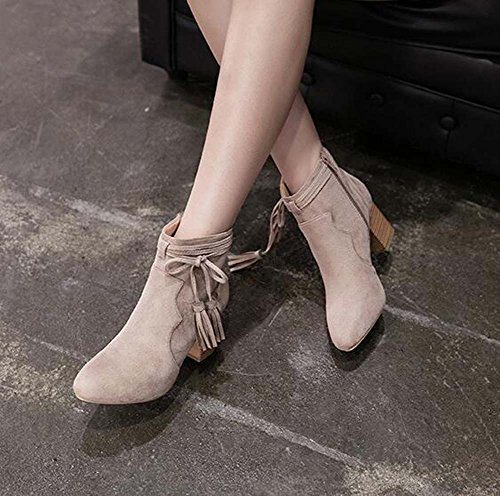 Boots Toe habill Zipper Heel Bowknot Tassel Femmes Chunkly Doux Seude Boots Chelsea Chaussures Ankle 6CM Round qnTFO4