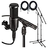 Audio Technica AT2041SP Studio Pack w/Mount , Clamp Sonar LE, 2 20\' Mic Cables, 2 Boom Stands