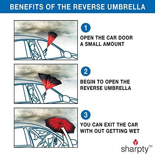 Sharpty Inverted Umbrella, Umbrella Windproof, Reverse Umbrella, Umbrellas for Women with UV Protection, Upside Down Umbrella with C-Shaped Handle (Blue Sky)