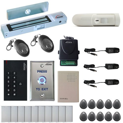 Vsionis FPC-5336 One Door Access Control Outswinging Door 300lbs Maglock with VIS-3002 Indoor use only Keypad/Reader Standalone no software em card compatible 500 users Wireless Receiver with PIR Kit by Visionis