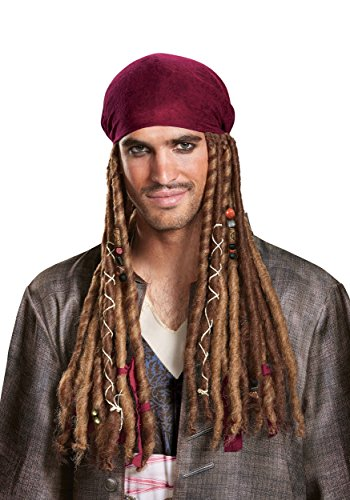 (Disney Men's POTC5 Jack Sparrow Bandana with Dreads-Adult  Multi  One Size by)