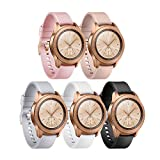 Compatible for Samsung Galaxy Watch (42mm) Bands,YiJYi 20mm Silicone Strap Sports Replacement Wristband Large Small for Galaxy Watch 42mm SM-R810/SM-R815,Gear Sport,Gear S2 (03-5 pack-M/L(6.5'-8.5'))