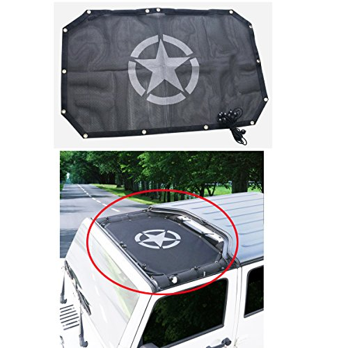 MOEBULB Car Top Sun Shade Cover UV Protection Sunshade Mesh Black for 2007 to 2017 Jeep Wrangler JK 2-Door with Five-pointed Star