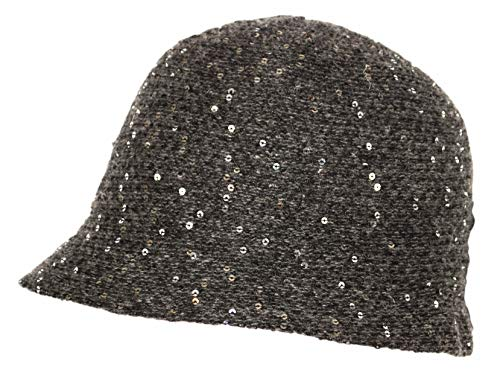 Vintage Wool Blend Round Cloche Hat, Sequin Knit Brim Bucket Cap for Women (Charcoal Grey Without Bow)