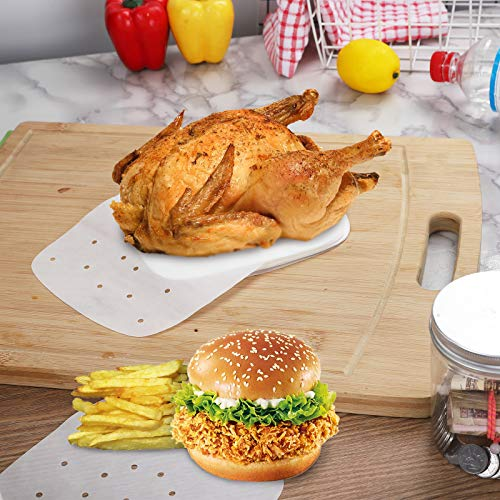 """Air Fryer Liners, 100pcs 8.5""""unbleached and White Available Square Air Fryer,Steaming Parchment Liner,Parchment Paper for Air Fryer,Easy Cleanup (White, 8.5inch)"""