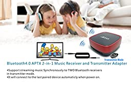 Zio Wireless CSR Bluetooth4.0 APTX Stereo Transmitter (Support Streaming Music Synchronously to TWO Bluetooth-enabled Equipment such as Bluetooth Headphone or Bluetooth Speaker) and Audio Receiver 2-In-1 Adapter for Headphones, smartphone ,TV, Computer /