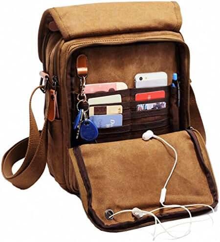 Kenox Vintage Multifunction Canvas Shoulder Bag Business Messenger Bag Ipad Bag Work Field Bag