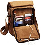vintage bags - Kenox Durable Vintage Multifunction Canvas Shoulder Bag Business Messenger Bag Ipad Bag Tote Bag Satchel Bag (Brown)